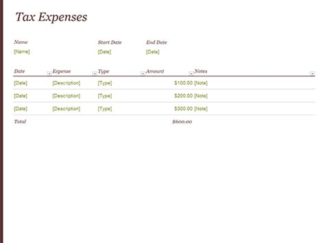 tax template for expenses financial management office