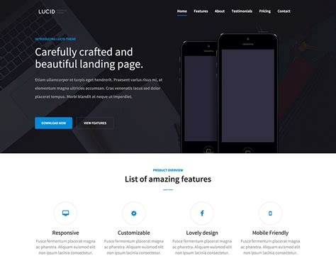 bootstrap templates for mobile app free lucid html5 and bootstrap responsive app landing page at