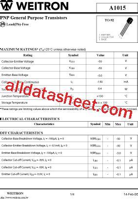 transistor a1015 echivalent a1015 datasheet pdf weitron technology