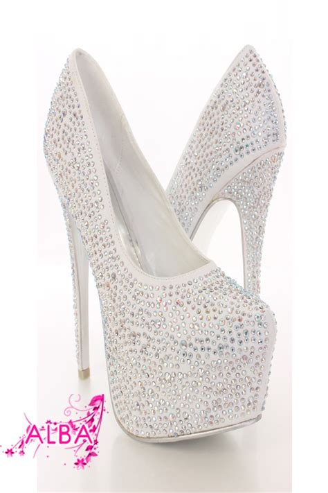 Stiletto Shoe Chairs White Rhinestone Platform Pump Heels Amiclubwear Heel