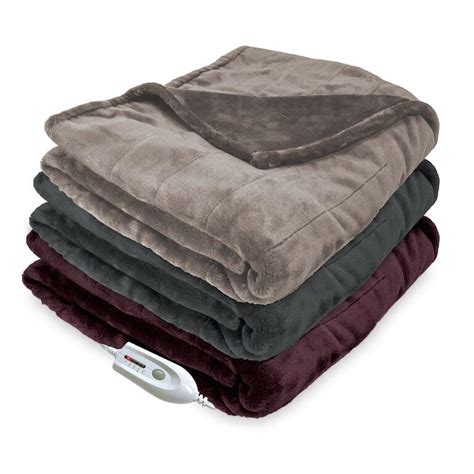 electric couch blanket serta silky plush electric throw blanket 661083