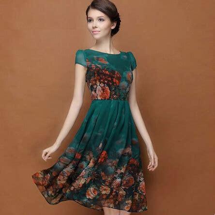 verão de manga curta vestido de chiffon de impressão verde
