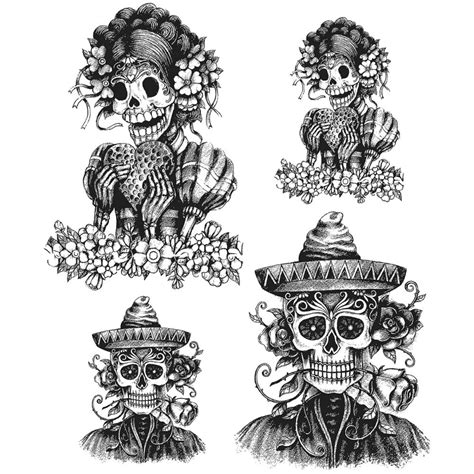 day of the dead rubber sts ster s anonymous tim holtz cling mounted rubber