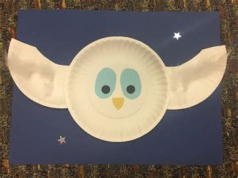 Paper Plate Snowy Owl Craft - owl story time sensory friendly verona story time
