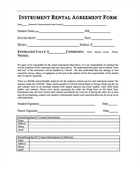 instrument rental agreement template 21 sle rental agreement forms
