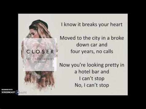 closer testo closer the chainsmokers ft halsey lyrics