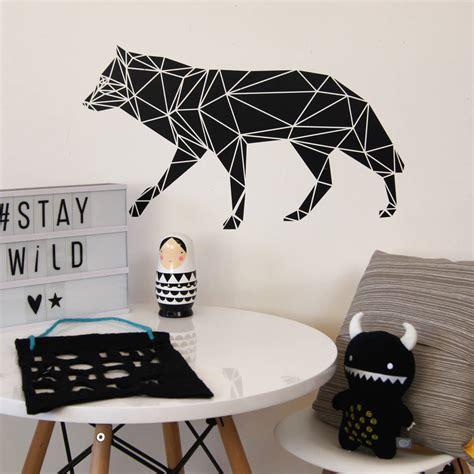 wolf wall stickers geometric wolf wall sticker by parkins interiors