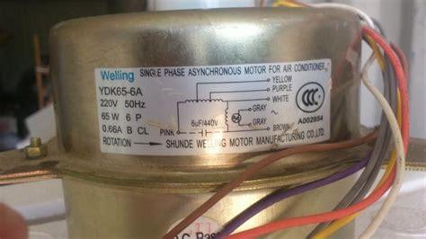 split ac outdoor fan motor connection