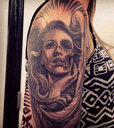 half woman half skull tattoo designs 62 portrait tattoos designs on shoulder