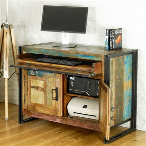 Reclaimed Wood Office Desk Chic Solid Reclaimed Wood Office Furniture Hideaway Home Computer Desk Ebay