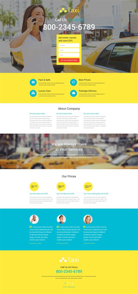 responsive landing page templates taxi responsive landing page template 53688