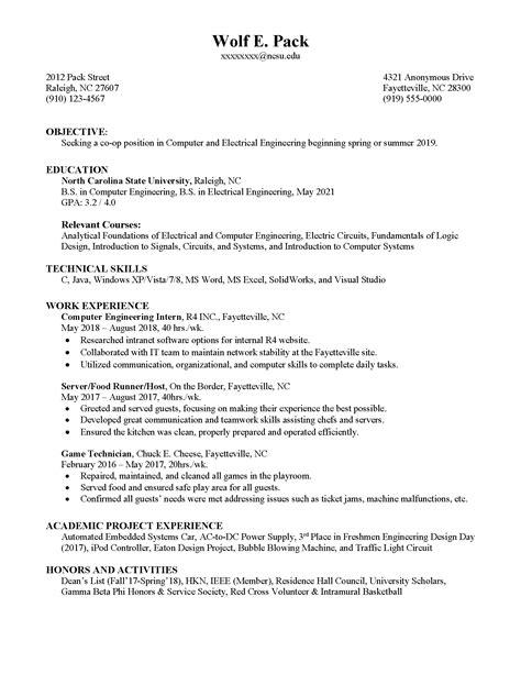 co op resume career development center