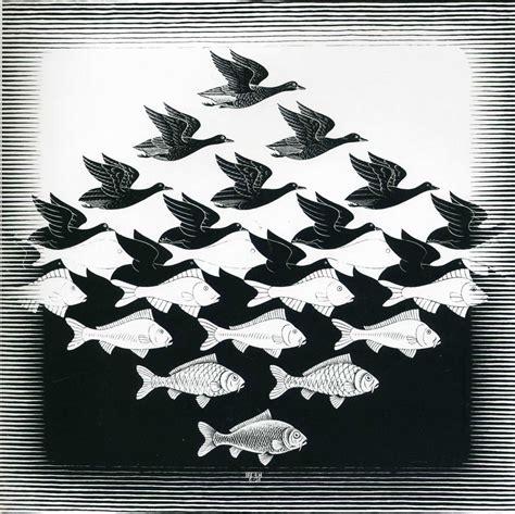 pattern bird art bird and fish pattern optical illusion m c escher art