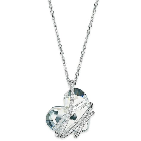 swarovski silver tone pendant necklace in