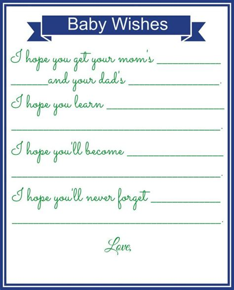 baby wishes card free template four fabulous baby shower activities driven by decor