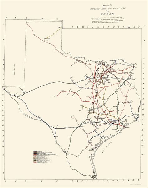 texas rail map railroad maps texas railway junction point tx by bissell 1891