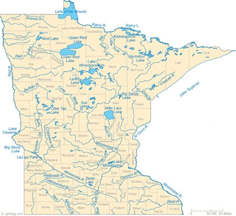 lakes map map of minnesota lakes streams and rivers