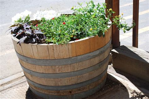 wooden barrel planter interesting design and ornaments