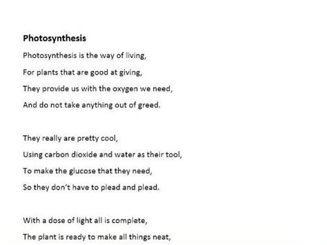 biology poems gcse biology revision photosynthesis poem rap by logical