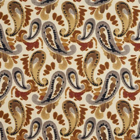 Watercolor Upholstery Fabric Beige Red And Brown Abstract Watercolor Paisley Print