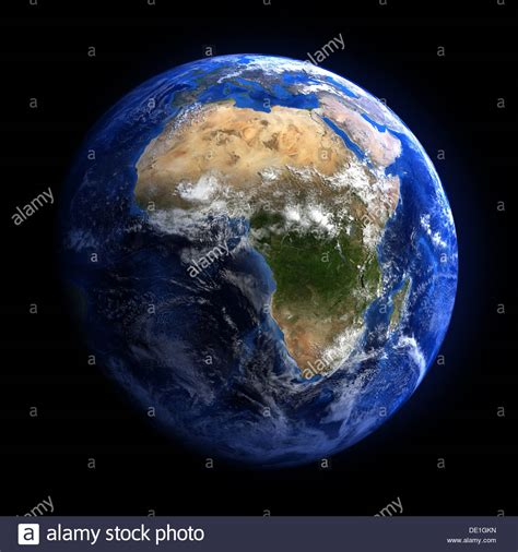 earth image the earth from space showing africa isolated on black