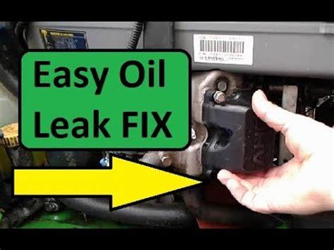 fix  oil leak   john deere kawasaki  twin engine youtube
