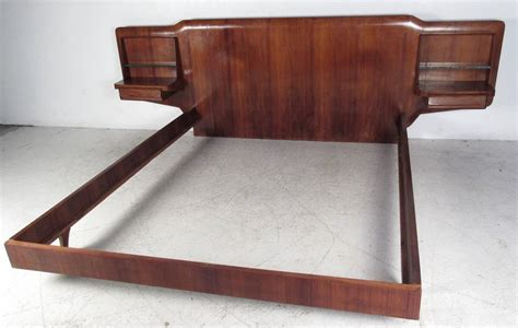 king size platform bed with headboard mid century solid wood king size low platform bed frame