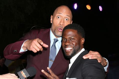 kevin hart and dwayne johnson dwayne johnson jokes he s the father of kevin hart s