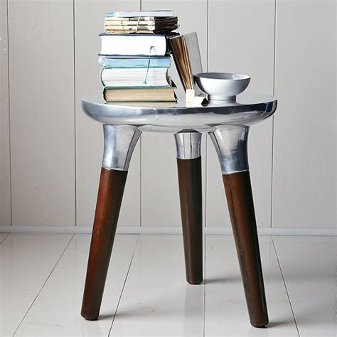 Aluminum Accent Table Aluminum Wood Side Table Eclectic Side Tables And End Tables By West Elm