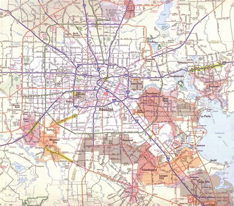 houston on a texas map larger map of houston texas