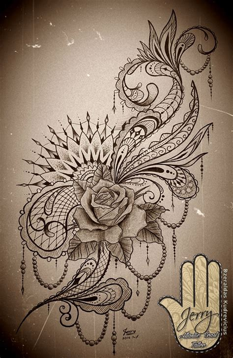 Feminine Rose Mandala Tattoo Idea Design With Lace And Feminine Designs