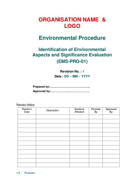 environmental aspects register template iso 14001 2015 aspects identification procedure