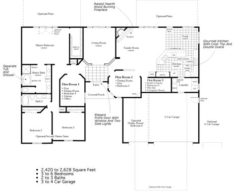 ranch floor plan 4 bedroom ranch floor plans to 2 628 square feet 3