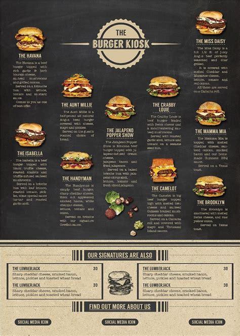 design menu burger the burger kiosk menu package on behance