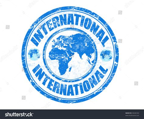 Overseas Search Grunge Rubber Sts With The Word International Written Inside The St Stock Vector