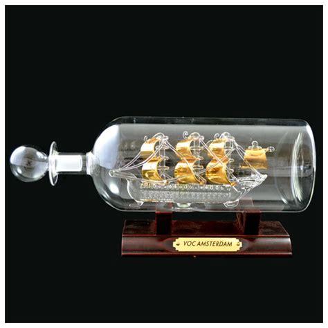 voc schip amsterdam in fles groot goud glaswerk - Schip In Fles Kopen