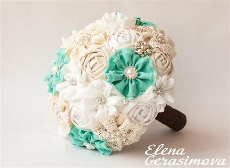 Bridal Bouquets For Sale by Sale Brooch Bouquet Ivory Mint Fabric Bouquet Vintage