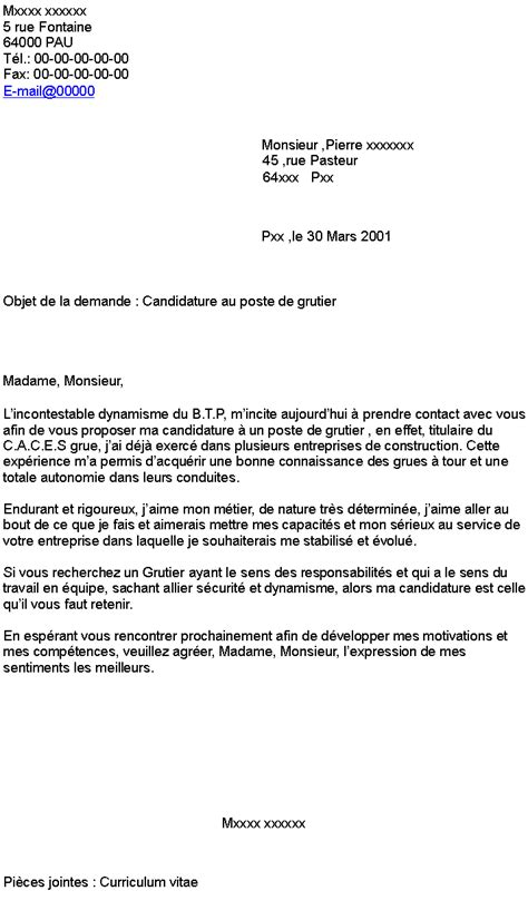 Lettre De Motivation Chef De Zone Export Candidature Au Poste De Grutier