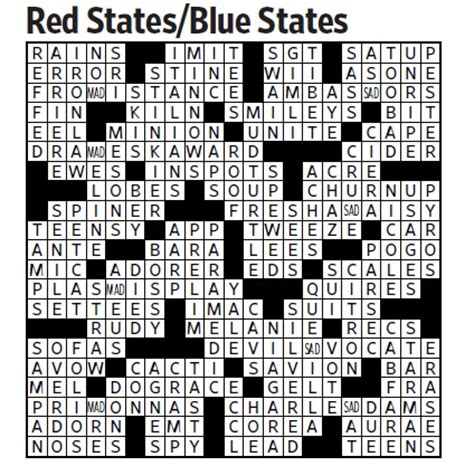 usa today crossword may 13 red states blue states saturday crossword nov 5 wsj