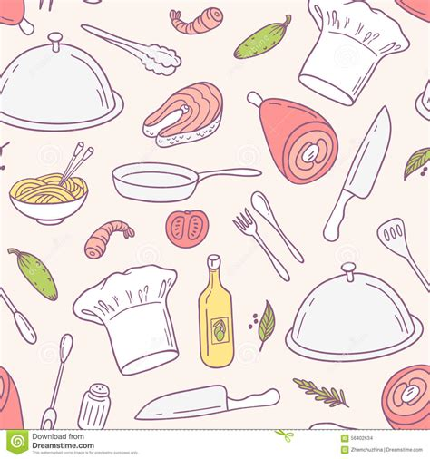 doodle food eps doodle food seamless pattern in vector culinary stock