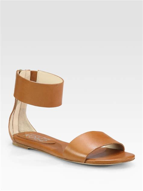 brown ankle sandals kors by michael kors leather ankle sandals in
