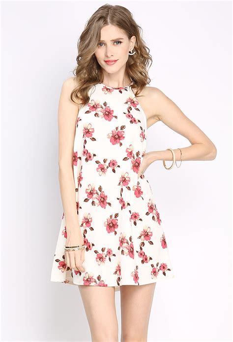 Flowery Charm Mini Dress halterneck floral mini dress shop sale at papaya clothing