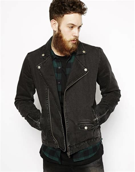 denim motorcycle jacket asos denim biker jacket in black for men lyst
