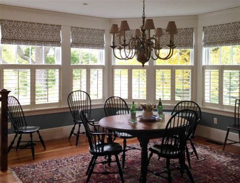 dining room blinds cafe shutters with roman shades traditional dining