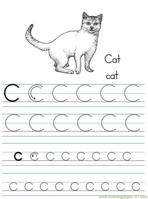 coloring pages alphabet abc letter c cat coloring pages 7
