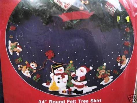 penguin tree skirt 31 quot felt embroidered penguin bucilla felt applique tree skirt kit