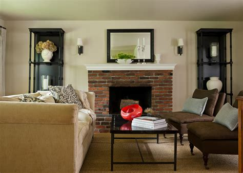 living room brick fireplace brick fireplaces family room farmhouse with built in shelves area rug
