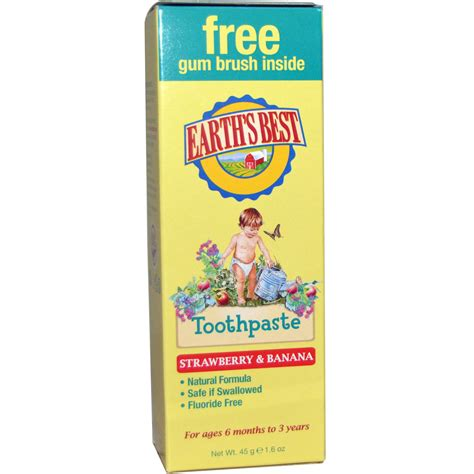 best toothpaste earth s best toothpaste strawberry banana 1 6 oz 45 g iherb
