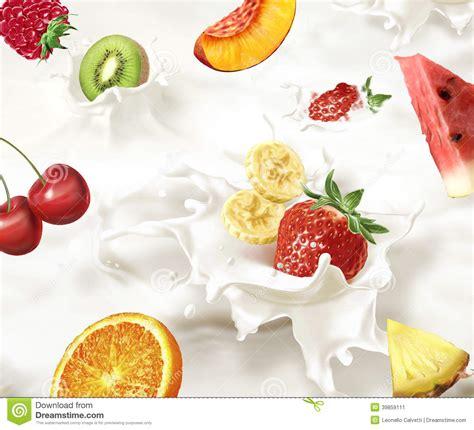 fruit milk various fruits falling into a sea of milk causing