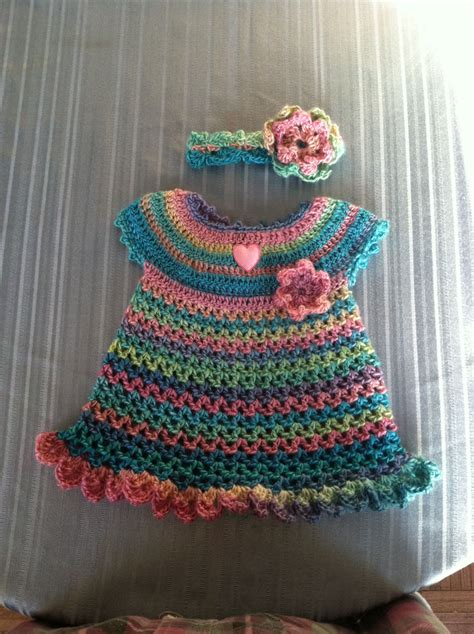 red heart yarn patterns creatys for red heart little sweetie dress and headband free pattern